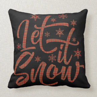 Red Plaid on Black Chalboard | Let It Snow Cushion