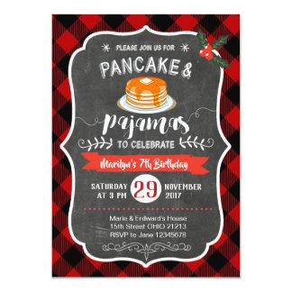 Red Plaid Pancake and Pajamas Birthday Invitation