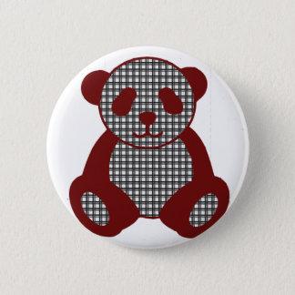 Red plaid Panda 6 Cm Round Badge