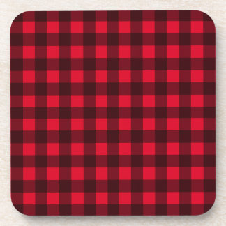Red plaid pattern beverage coasters