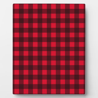 Red plaid pattern photo plaque