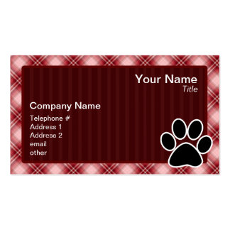 Red Plaid Paw Print Business Cards