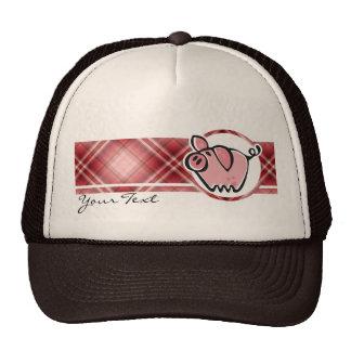 Red Plaid Pig Cap