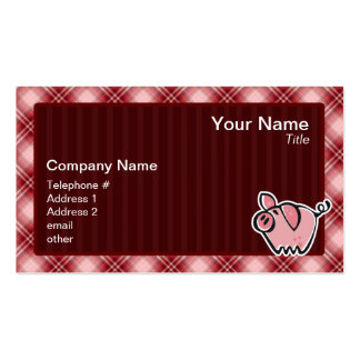 Red Plaid Pig Pack Of Standard Business Cards