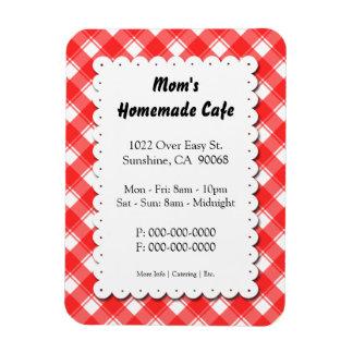 Red Plaid Restaurant Business Magnet