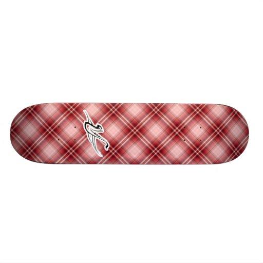 Red Plaid Saxophone Skateboard Deck