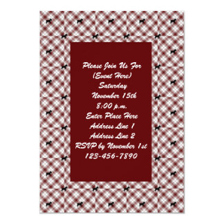 Red Plaid Scotty Dog Pattern Invitation