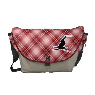 Red Plaid Snow Skiing Courier Bags