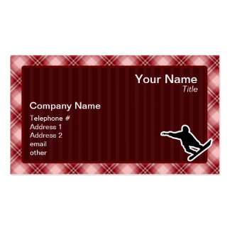 Red Plaid Snowboarding Pack Of Standard Business Cards