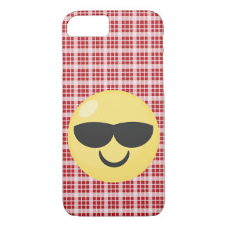 Red Plaid Sunglasses Cool Emoji iPhone Case