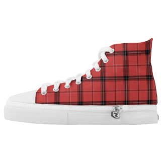 Red Plaid Tartan Christmas Holiday Pattern High Tops