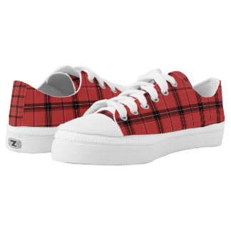 Red Plaid Tartan Christmas Holiday  Pattern Low Tops