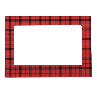 Red Plaid Tartan Christmas Holiday Pattern Magnetic Frame