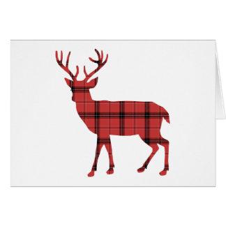Red Plaid Tartan Pattern Christmas Holiday Deer Card