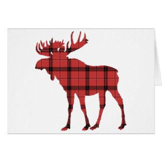 Red Plaid Tartan Pattern Christmas Holiday Moose Card