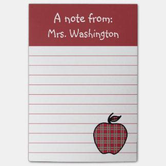 Red Plaid Teacher's Apple Post It Notes