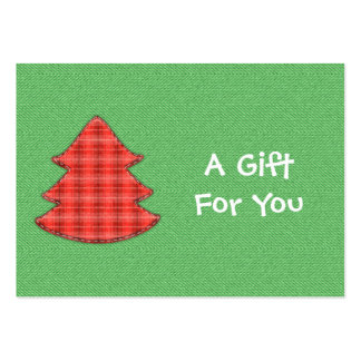 Red Plaid Tree Gift Tags Pack Of Chubby Business Cards