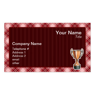 Red Plaid Trophy Business Card