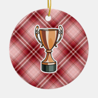 Red Plaid Trophy Christmas Ornament