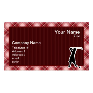 Red Plaid Vintage Golfer Business Cards