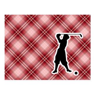 Red Plaid Vintage Golfer Postcard