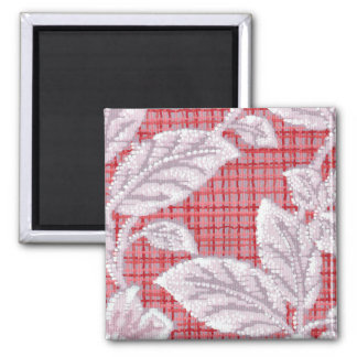 Red Plaid with Leaves Vintage Wallpaper Square Magnet
