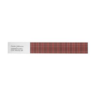 Red Plaid Wrap Around Return Address Label Wraparound Address Label