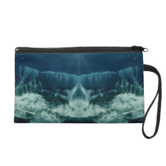 Red Planet in Blue Wristlet Purse
