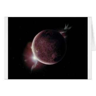 red planet in the universe with aura and stars card