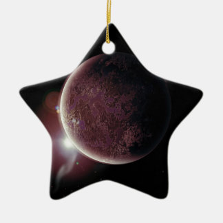red planet in the universe with aura and stars ceramic ornament