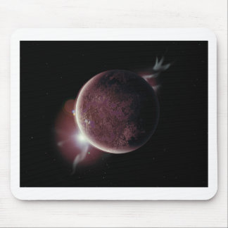 red planet in the universe with aura and stars mouse pad