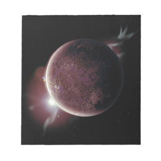red planet in the universe with aura and stars notepad