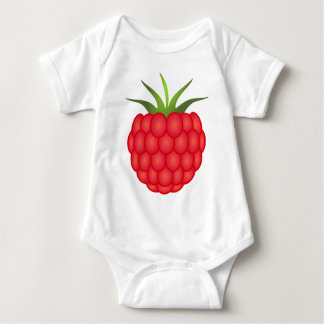 Red Plump Raspberry With Leaves Baby Bodysuit