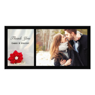 Red Poinsettia and Pearls Winter Wedding Thank You Personalised Photo Card