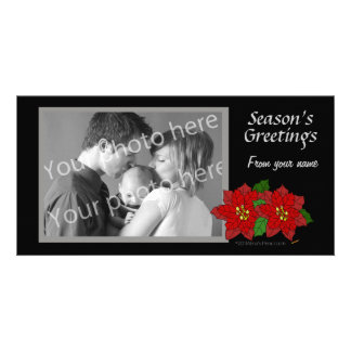 Red Poinsettia Black Gray Christmas Photo Template