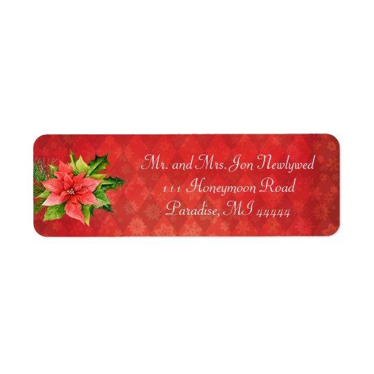 Red Poinsettia Christmas Addredd Label