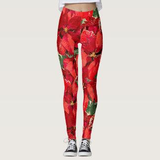 Red Poinsettia Christmas Leggings