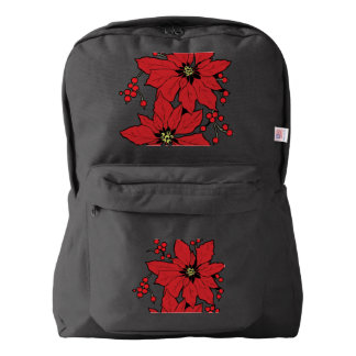Red Poinsettia Christmas Patte Backpack