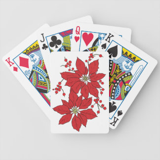Red Poinsettia Christmas Patte Bicycle Playing Cards