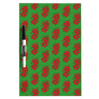 Red Poinsettia Christmas Patte Dry Erase Board