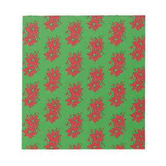 Red Poinsettia Christmas Patte Notepad