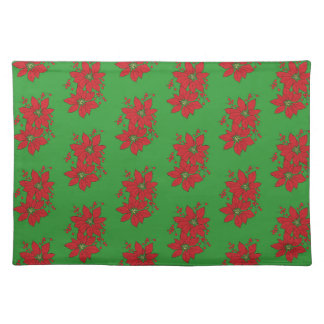 Red Poinsettia Christmas Patte Placemat