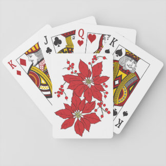 Red Poinsettia Christmas Patte Playing Cards
