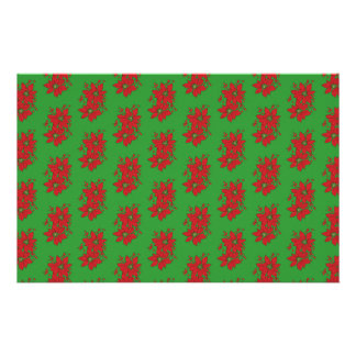 Red Poinsettia Christmas Patte Stationery