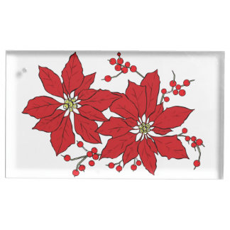 Red Poinsettia Christmas Patte Table Number Holder