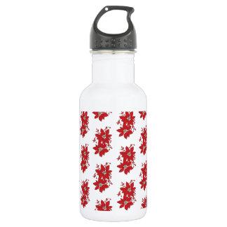 Red Poinsettia Christmas Pattern 532 Ml Water Bottle