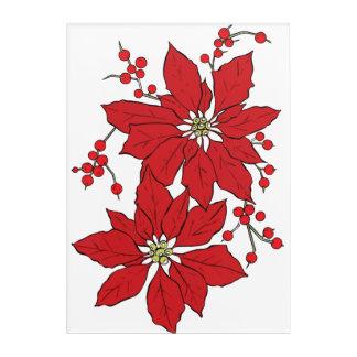 Red Poinsettia Christmas Pattern Acrylic Wall Art