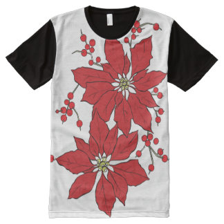 Red Poinsettia Christmas Pattern All-Over Print T-Shirt
