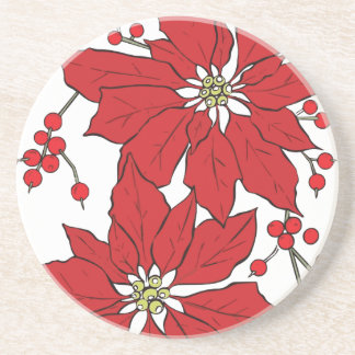 Red Poinsettia Christmas Pattern Coaster