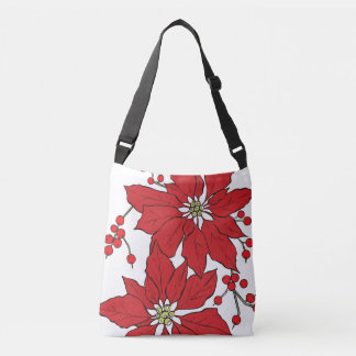 Red Poinsettia Christmas Pattern Crossbody Bag